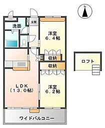 ル モンド セントレ[2階]の間取り
