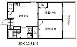 古湊第2リーフビル 8階2DKの間取り