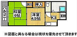 福岡県北九州市八幡東区祇園3丁目の賃貸マンションの間取り