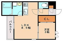 福岡県福岡市南区南大橋1丁目の賃貸アパートの間取り