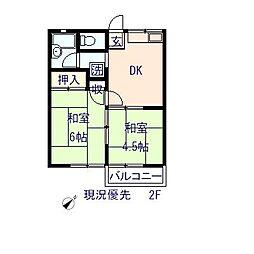 神奈川県横浜市泉区岡津町の賃貸アパートの間取り
