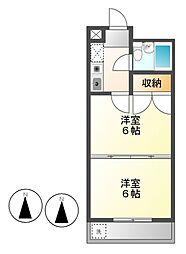プリンセス大曽根[4階]の間取り