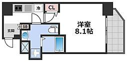 エグゼ堺筋本町 5階1Kの間取り