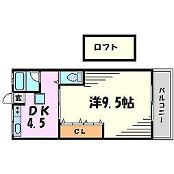 兵庫県西宮市甲子園浜田町の賃貸アパートの間取り