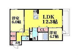 (仮称)灘北通8丁目D-room[2階]の間取り