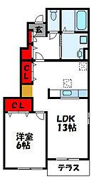 JR鹿児島本線 東郷駅 3.2kmの賃貸アパート 1階1LDKの間取り