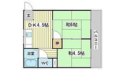 兵庫県姫路市南新在家の賃貸アパートの間取り