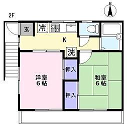 野島ハイツ[2F号室]の間取り