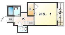 ニューハイツ桜IV 3階ワンルームの間取り