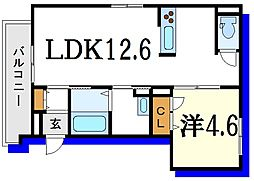 都営新宿線 篠崎駅 徒歩14分の賃貸マンション 2階1LDKの間取り