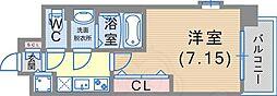 Luxe東灘 7階1Kの間取り