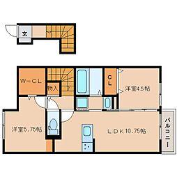 近鉄南大阪線 坊城駅 徒歩5分の賃貸アパート 1階2LDKの間取り