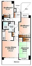 ダイアパレスリバーコート熊谷[6階]の間取り