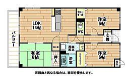 福岡県北九州市小倉南区上石田1丁目の賃貸マンションの間取り