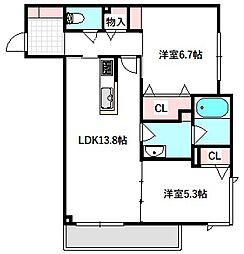京阪本線 土居駅 徒歩2分の賃貸マンション 2階2LDKの間取り