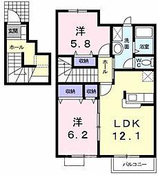 広島県安芸郡熊野町呉地2丁目の賃貸アパートの間取り