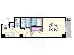 阪神本線 西宮駅 徒歩5分の賃貸マンション 1階1Kの間取り