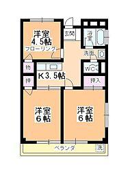 内田ハイツ霞ヶ関[301号室]の間取り