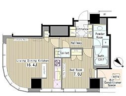 JR山手線 代々木駅 徒歩3分の賃貸マンション 14階1LDKの間取り