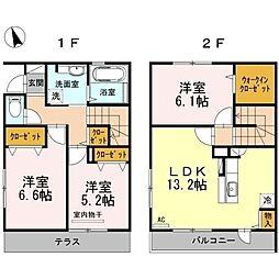 [テラスハウス] 福岡県福岡市中央区福浜1丁目 の賃貸【/】の間取り