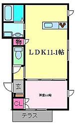 Petit Cerisier 1階1LDKの間取り