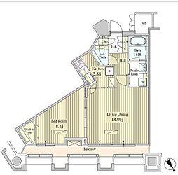 都営大江戸線 汐留駅 徒歩3分の賃貸マンション 22階1LDKの間取り
