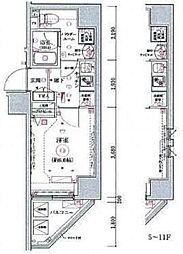 リヴシティ横濱関内 11階1Kの間取り