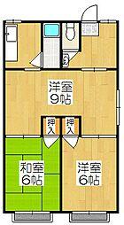 京都府京都市山科区西野山中臣町の賃貸アパートの間取り