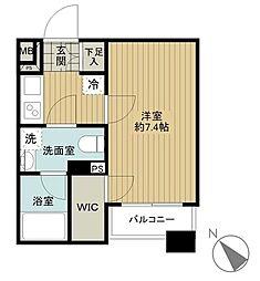 東京メトロ日比谷線 神谷町駅 徒歩4分の賃貸マンション 7階1Kの間取り