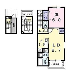 プリート カーサ[3階]の間取り