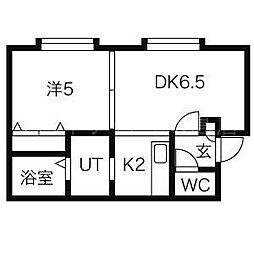 北海道札幌市豊平区平岸五条7丁目の賃貸アパートの間取り