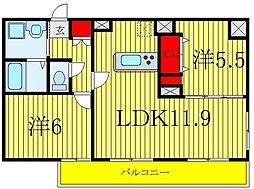 JR埼京線 北赤羽駅 徒歩12分の賃貸マンション 1階2LDKの間取り