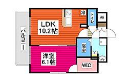 仙台市地下鉄東西線 大町西公園駅 徒歩7分の賃貸マンション 3階1LDKの間取り