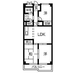 里水マンションA[8階]の間取り