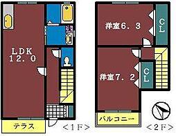 [テラスハウス] 千葉県船橋市葛飾町2丁目 の賃貸【/】の間取り
