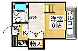 カーサ四条畷[2階]の間取り