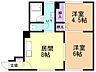 間取り,2DK,面積45.24m2,賃料3.6万円,バス JRバス新琴似2条10丁目下車 徒歩4分,,北海道札幌市北区新琴似一条10丁目4番1号