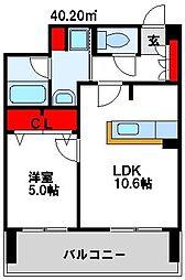 福岡県中間市中尾1丁目の賃貸マンションの間取り