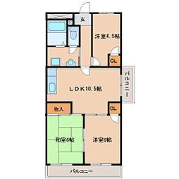 兵庫県尼崎市猪名寺2丁目の賃貸マンションの間取り