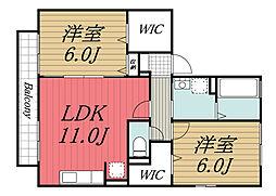 JR内房線 長浦駅 徒歩5分の賃貸アパート 2階2LDKの間取り
