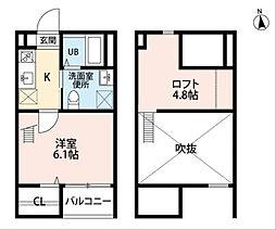 愛知県名古屋市天白区野並1丁目の賃貸アパートの間取り