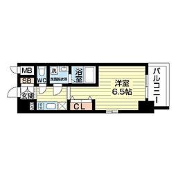 阪急京都本線 淡路駅 徒歩9分の賃貸マンション 8階1Kの間取り