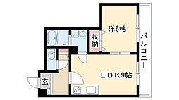 愛知県名古屋市昭和区折戸町1丁目の賃貸アパートの間取り