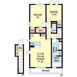 ボナール13[2階]の間取り