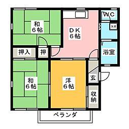 コーポスズキ B棟[2階]の間取り
