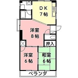 三浦シティーハイツ[2階]の間取り