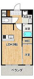 セントラルパークサイドマンションII 1階1LDKの間取り
