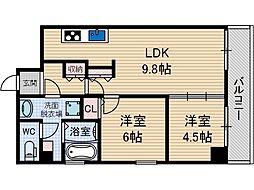 クオーレ茨木元町[4階]の間取り