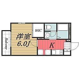 JR成田線 酒々井駅 徒歩12分の賃貸アパート 1階1Kの間取り