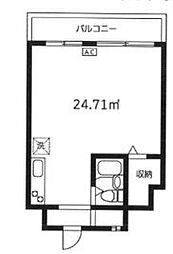 根岸武蔵野マンション 10階ワンルームの間取り